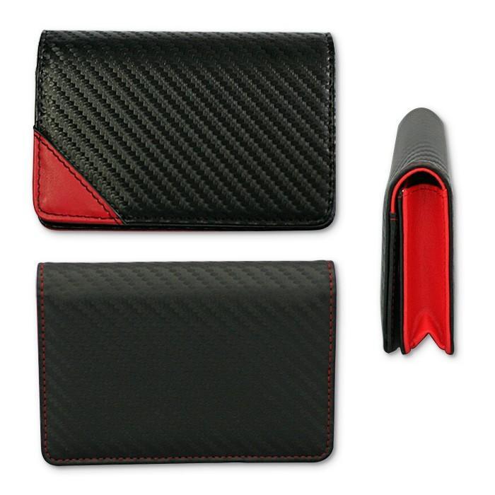 名刺入れ メンズ ビジネス 革 レッド ブラック 赤 黒 カーボン調 名刺 カードケース 大人 男性 GT-MOBILE|airs|02