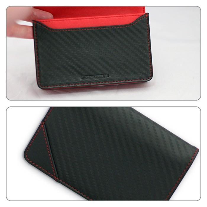 名刺入れ メンズ ビジネス 革 レッド ブラック 赤 黒 カーボン調 名刺 カードケース 大人 男性 GT-MOBILE|airs|04
