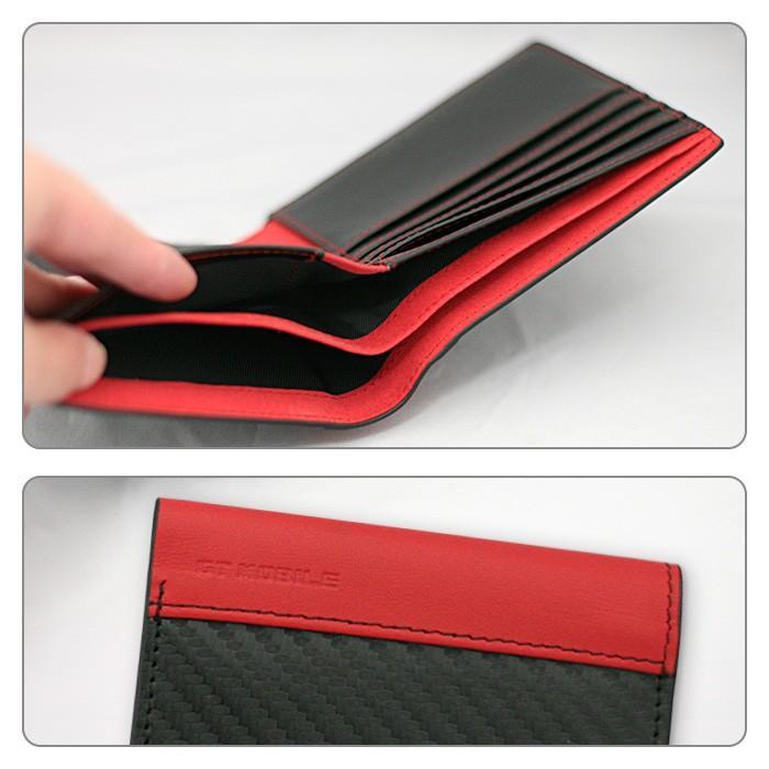 二つ折り札入れ メンズ ビジネス 財布 ウォレット カーボン調 レッド ブラック 赤 黒 大人 男性 カードケース GT-MOBILE airs 03
