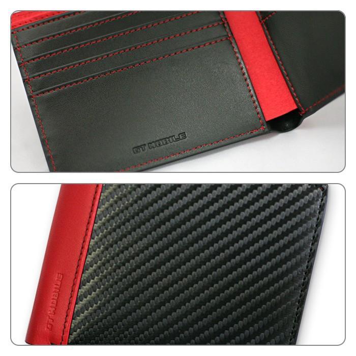 二つ折り札入れ メンズ ビジネス 財布 ウォレット カーボン調 レッド ブラック 赤 黒 大人 男性 カードケース GT-MOBILE airs 04