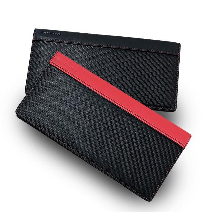 長財布 メンズ ビジネス レッド ブラック 赤 黒 カーボン調 ウォレット 二つ折り 男性 PUレザー GT-MOBILE|airs