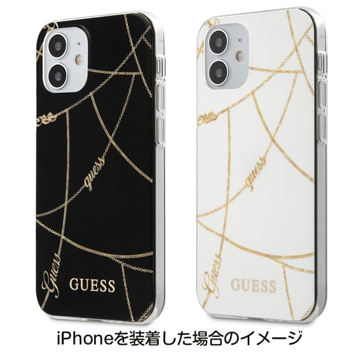 GUESS・公式ライセンス品 iPhone12mini iPhone12 iPhone12Pro 背面ケース バックカバー スマホケース ブラック ホワイト ブランド 送料無料|airs|05