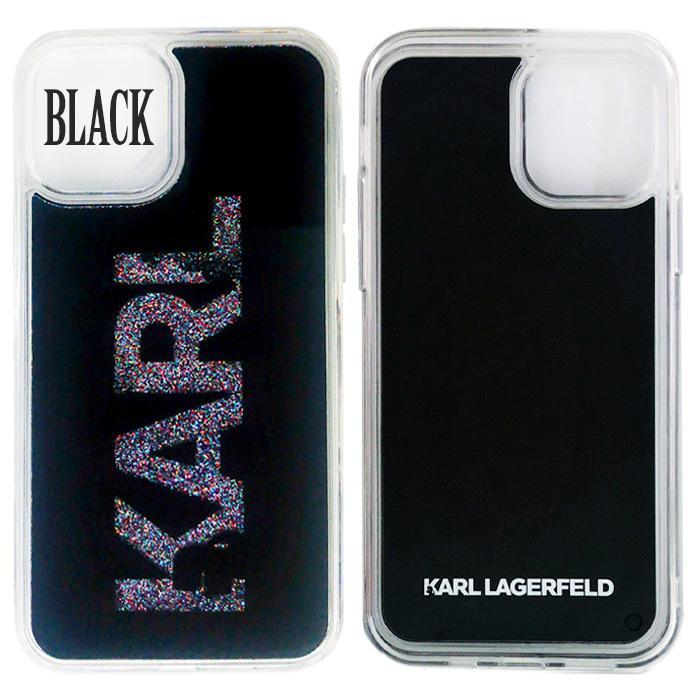 カール・ラガーフェルド 公式ライセンス品 iPhone12mini iPhone12 iPhone12Pro グリッター背面ケース バックカバー ブラック ゴールド|airs|02