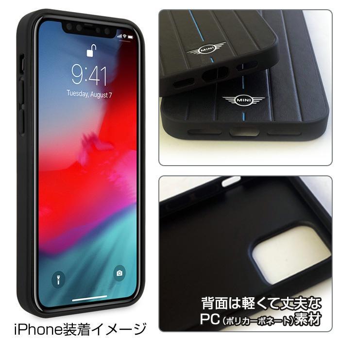 MINI(ミニ)・公式ライセンス品 iPhone12mini iPhone12 iPhone12Pro 5.4 6.1 inch 背面ケース PUレザー ハードケース  【送料無料】|airs|03