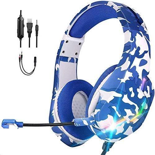 ACCOF PS4 ゲーミングヘッドセット PC ヘッドセット マイク付きヘッドホン 高音質 低音強化 有線ゲームイヤホン (j10-青)|airymotion