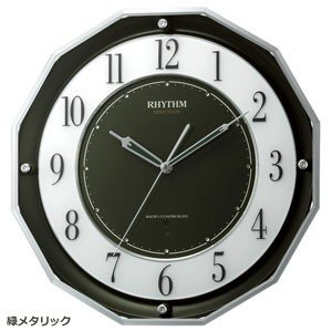 RHYTHM(リズム時計) 電波掛時計/スリーウェイブ M846 高感度電波時計 緑メタリック 4MY846SR05(取寄せ/代引不可)