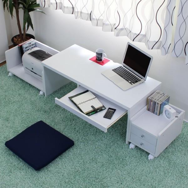 ロータイプパソコンデスクセット スライドテーブル付 90cm幅 机+ラック+チェスト ホワイト  LOD-390-WH ホワイト  LOD-390-WH 送料無料 チェスト ラック PCデスク ローデスク