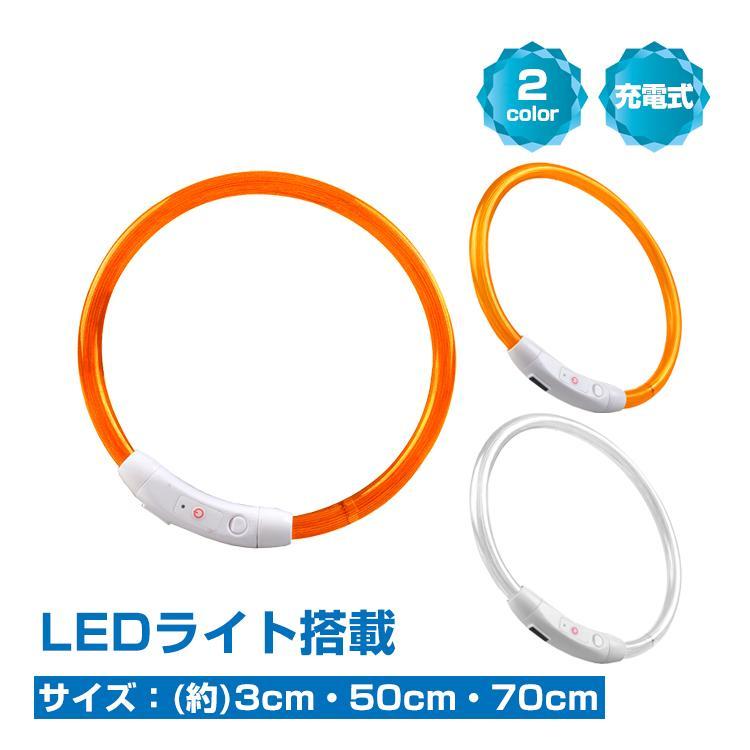 犬用首輪 光る LEDライト 夜 散歩 長さ調整可 常時点灯 点滅 USB充電 ペット 在庫処分 癒し 35cm 激安格安割引情報満載 50cm pt032 大型犬 小型犬 70cm 安全 中型犬 定番から日本未入荷
