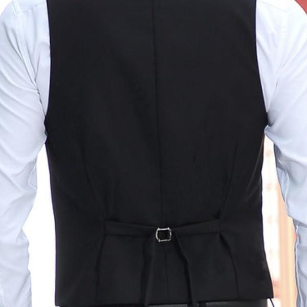 ジレベスト フォーマルベスト メンズ 無地 前開き Vネック フォーマル ベスト スーツ ビジネス 男性 礼服 定番 格好いい 紳士的 結婚式 宴会 ドレス akanebeauty 07