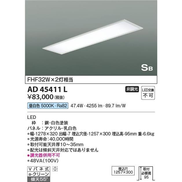 AD45411L 照明器具 照明器具 埋込器具 LED(昼白色) コイズミ照明(KAA)