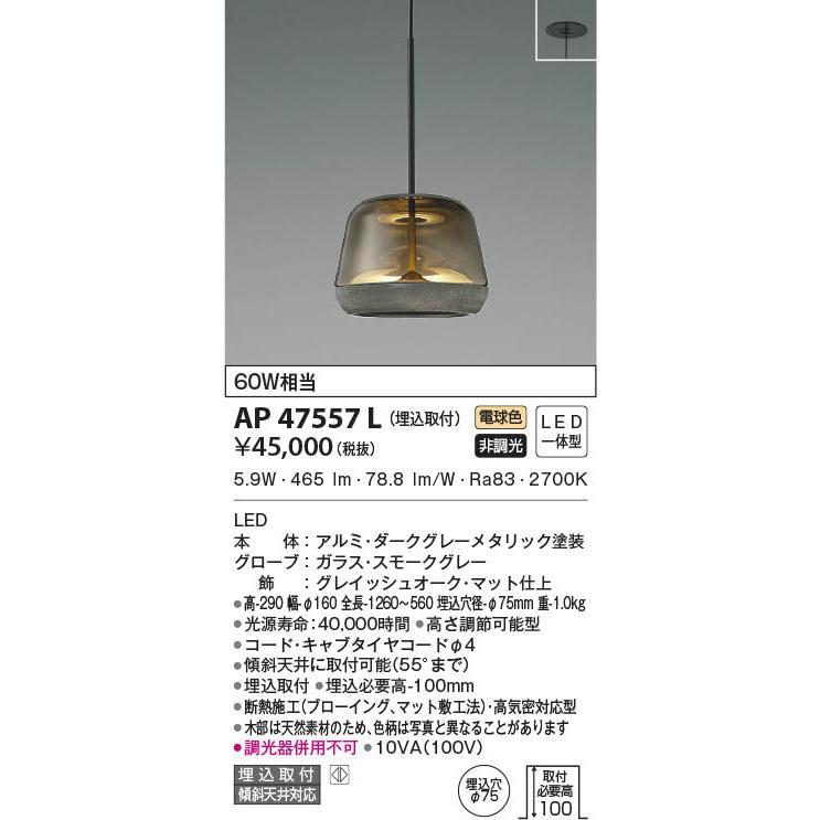 AP47557L 照明器具 ペンダント (埋込取付) LED(電球色) コイズミ照明(KAA)