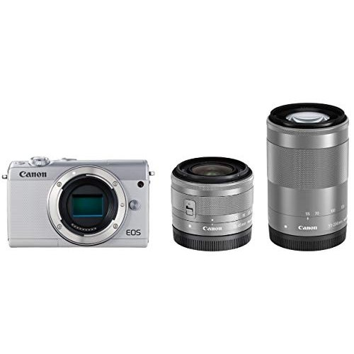 Canon ミラーレス一眼カメラ EOS M100 ダブルズームキット ホワイト EOSM100WH-WZK