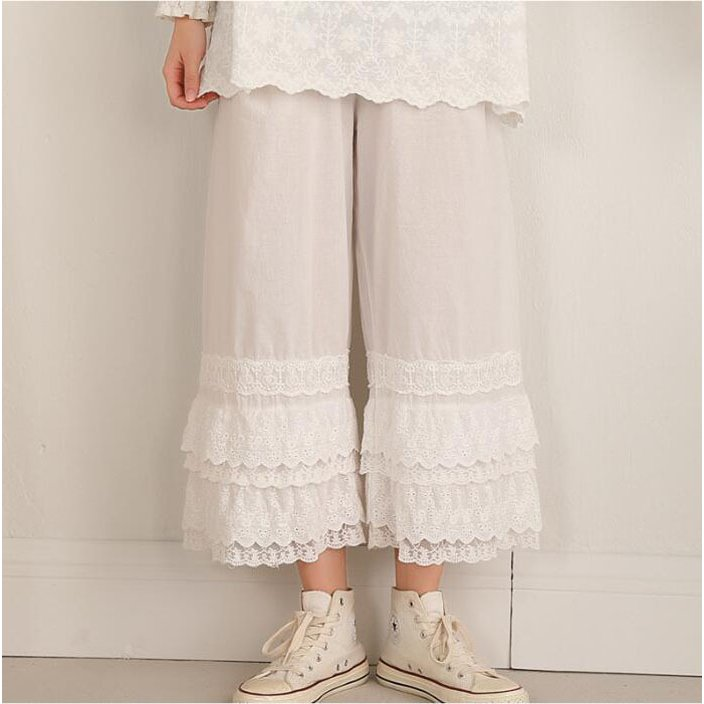 ベストレイヤード パンツ ぺチパンツ ペチコート ロング スカラップ 綿100 綿 コットン 重ね着 無地 大人可愛い 透け防止 ゆったり 送料無料|akira83-store|12