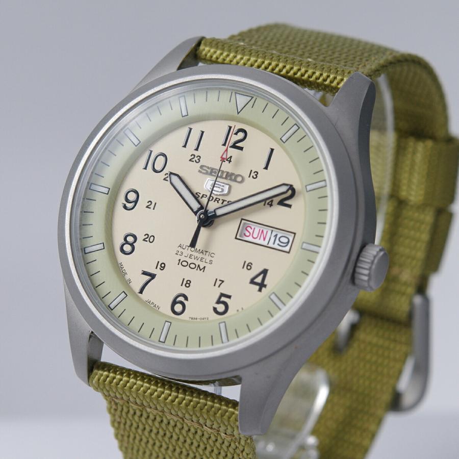 セイコー SEIKO 5 SPORTS【日本製】腕時計 海外モデル 自動巻き ミリタリー ベージュ SNZG07J1 メンズ [逆輸入品]|akky-international|05