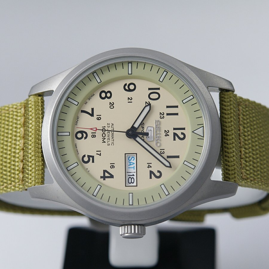 セイコー SEIKO 5 SPORTS【日本製】腕時計 海外モデル 自動巻き ミリタリー ベージュ SNZG07J1 メンズ [逆輸入品]|akky-international|06
