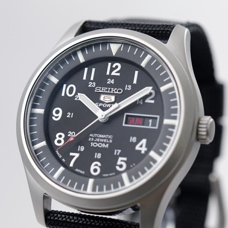 セイコー SEIKO 5 SPORTS【日本製】腕時計 海外モデル 自動巻き ミリタリー ブラック SNZG15J1 メンズ [逆輸入品]|akky-international|02