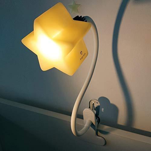 ErgoJoJo製 LED クリップ 星形 スター ライト 4段階の明るさ 至高 子供 部屋 安 授乳 ランプ 今だけスーパーセール限定 キッズ 読書 グースネック 最適 ポータブル