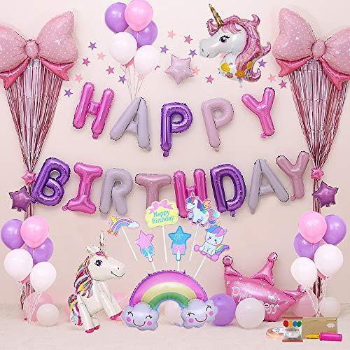 風船 誕生日バルーン 飾り付け 海外輸入 ユニコーン セット Happy 豪華で大容量 Birthday パーティー 少女のための誕生日バルー 新色 子供 女性