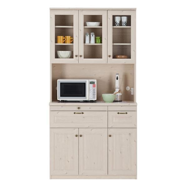 食器棚   ユーアイ NEO MARGOTT(マーゴット) 食器棚105 (上台オープン+下台) ホワイト木目 K105HOP + K105L