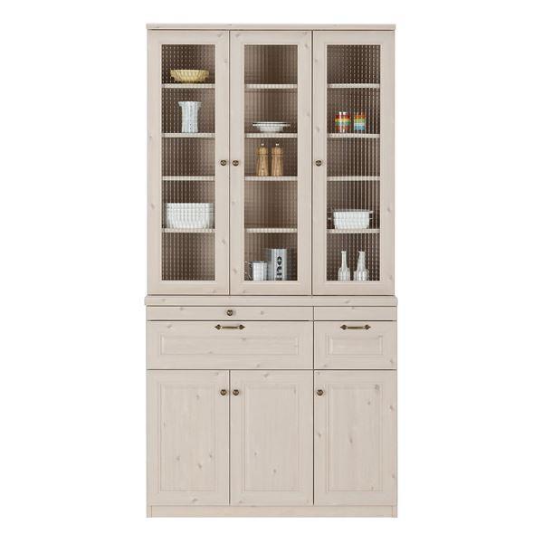 食器棚 | ユーアイ NEO MARGOTT(マーゴット) 食器棚105 (上台+下台) ホワイト木目 K105H + K105L