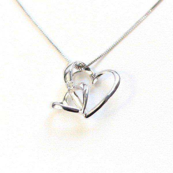 【お買得!】 ダブルハート ダイヤモンド ネックレス ペンダント ホワイトゴールド | ダイヤモンド, 北足立郡 1b1cb0dd