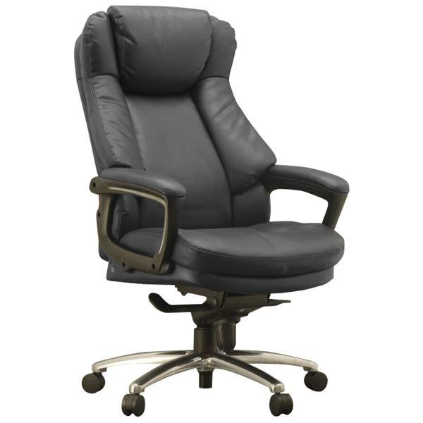 椅子 | ハイバックオフィスチェアデスクチェア (ブラック) 座面ポケットコイル使用 張地:合成皮革 肘付き 『スリンスキー』