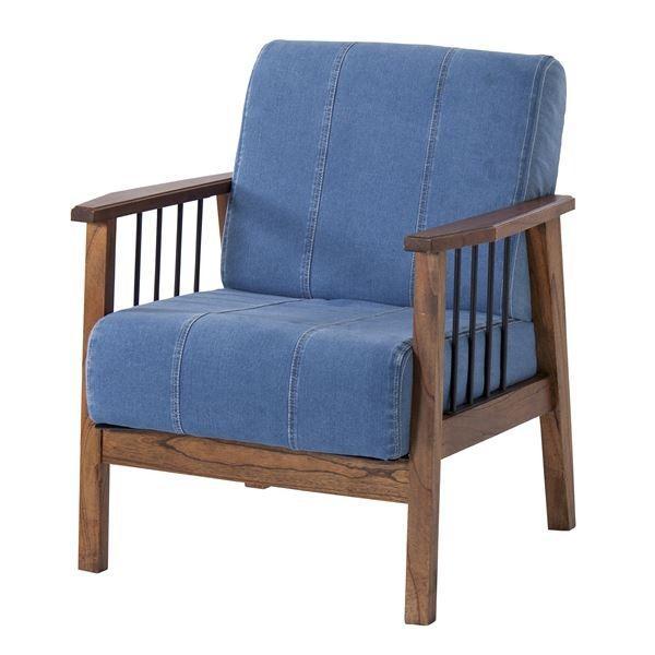 ソファ ソファ | デニムソファーパーソナルチェア (1人掛け) 肘付き 木製フレーム 張地:ファブリック生地 PM311