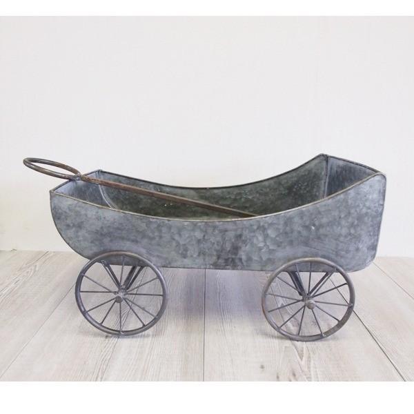 ブリキ製植木鉢プランター (カート型 長さ57cm) 穴無し 手作り 『ウーノ』 (園芸 ガーデニング用品)
