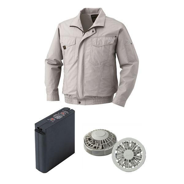 空調服 綿薄手タチエリ空調服 大容量バッテリーセット ファンカラー:グレー 1400G22C06S2 (カラー:シルバー サイズ:M) | DIY・工具