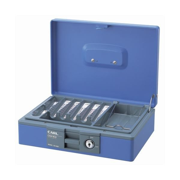 カール事務器 キャッシュボックスコインカウンター内蔵 W276×D210×H81mm W276×D210×H81mm 青 CB8400B 1台(×3)