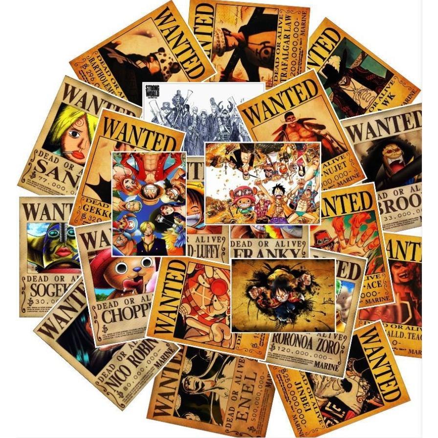ワンピース one-piece 手配書 海賊王 ポスター風 ルフィ 麦わら帽子 麦わら海賊団 海賊団 シール ステッカー25枚|alanzoe|04