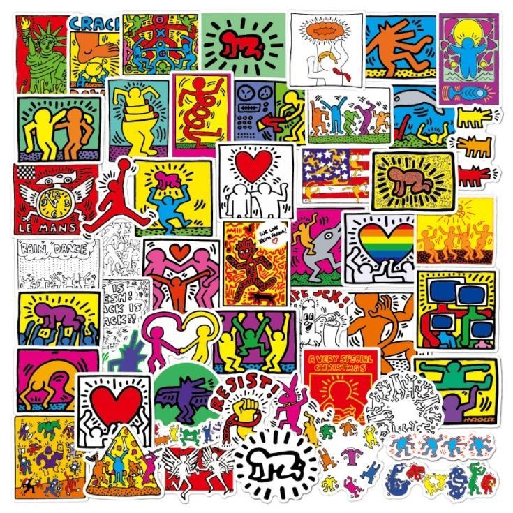 キース 待望 ヘリング Keith Haring 送料無料お手入れ要らず ステッカー50枚 サブウェイ ドローイング 落書き