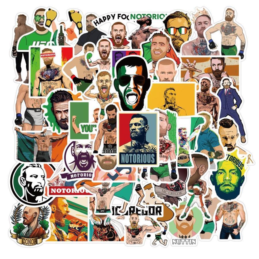 コナー マクレガー UFCライト級王者 アイルランド格闘家 ステッカー50枚 SBG フェザー級王者 祝日 シール 通信販売