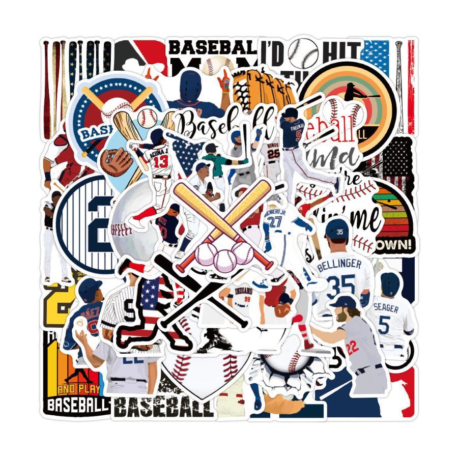 70%OFFアウトレット 野球 baseball 爆買いセール メジャーリーグ MLB 大リーグ プロ野球 ステッカー50枚XQ 硬式球 軟式球 シール 甲子園