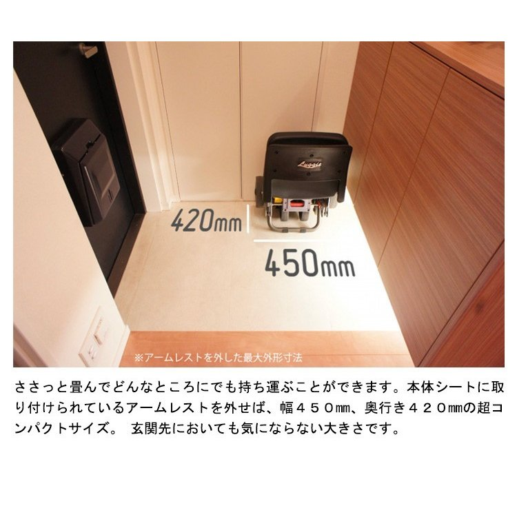 Luggie ラギー 小型 電動車椅子 折りたたみ 軽量ハンドル形 コンパクト 幅450mm 奥行き420mm alcare-store 05