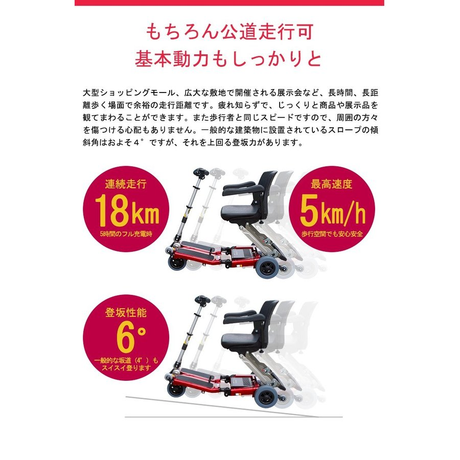 Luggie ラギー 小型 電動車椅子 折りたたみ 軽量ハンドル形 コンパクト 幅450mm 奥行き420mm alcare-store 08