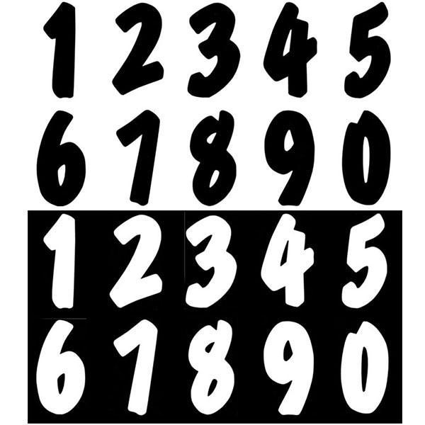 バイク レース用 新ゼッケンナンバーステッカー Lサイズ 数字とカラーが選べます 受注生産品 ブラック ホワイト 別倉庫からの配送 or