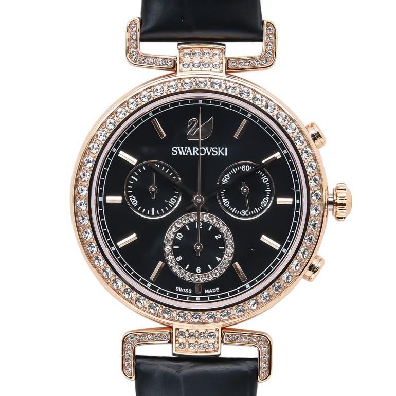 スワロフスキー 腕時計 レディース Era Journey ブラック ローズゴールド クロノグラフ 時計 ウォッチ 5295320 alevelshop