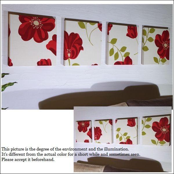 【送料無料】 CLARA 30×30cm 4枚組 アドルノファブリックパネル adorno クララ 赤 レッド レッド ファブリックアート