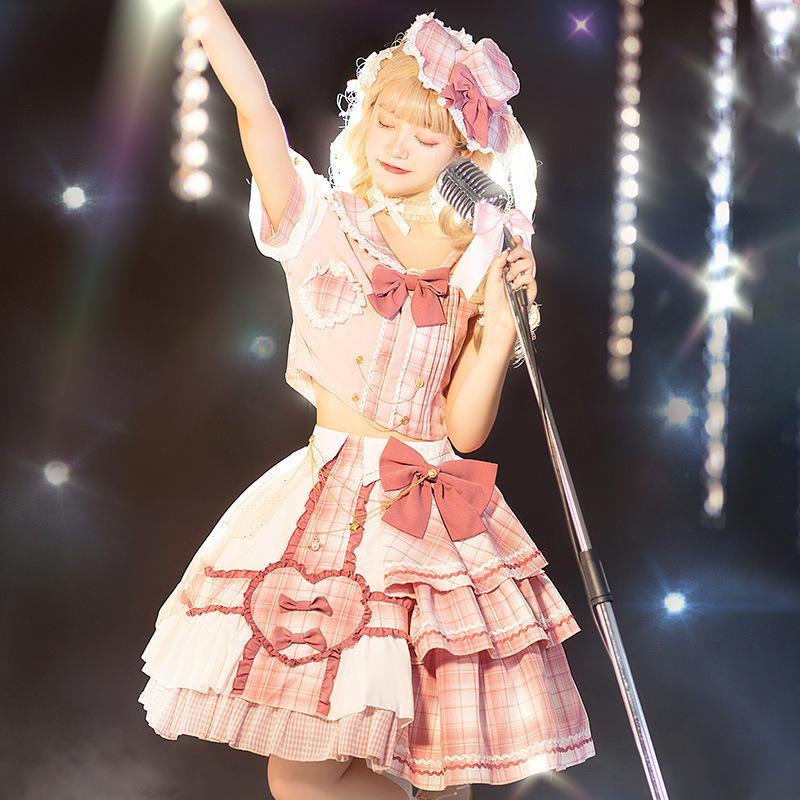 ロリータファッション 4点セット ワンピース ゆめかわいい レディース ピンク コスチューム S−3XL 制服 アウトレットセール 特集 永遠の定番 アイドル 甘い 舞台 コスプレ 衣装