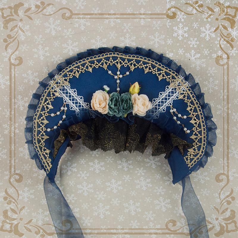 ボンネット 帽子 レディース 姫 華やか 華ロリ オリジナル bnt ハット ヘッドドレス カチューシャ ゴールド コーデ自由 ハロウィン|alicedoll|03