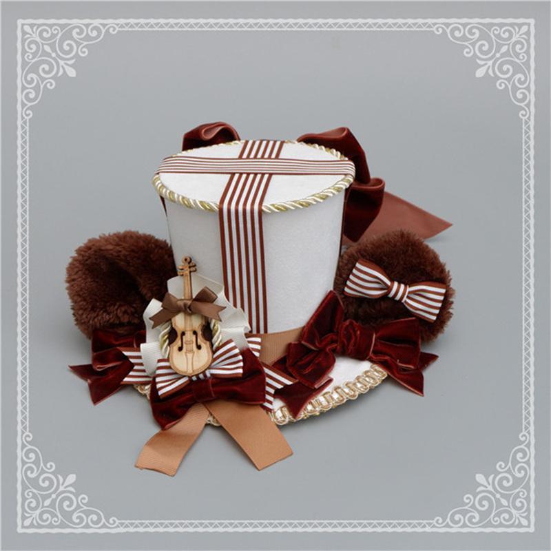 ロリータ 帽子 くま耳 レディース へアドレス コスプレ ゴシック モコモコ 豪華 レトロ かわいい 3色 クマ ハット ヘッドドレス|alicedoll|05