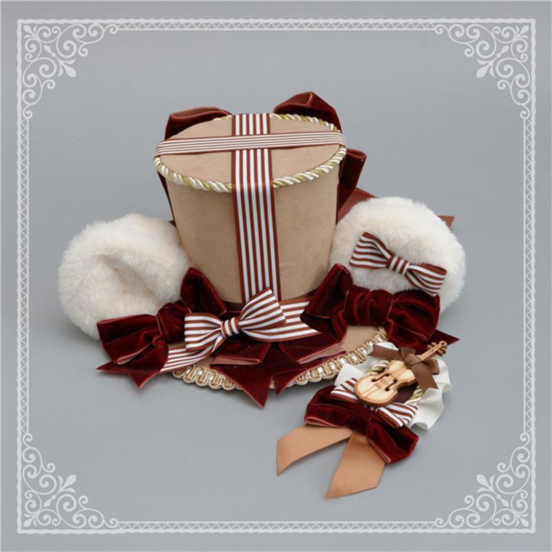 ロリータ 帽子 くま耳 レディース へアドレス コスプレ ゴシック モコモコ 豪華 レトロ かわいい 3色 クマ ハット ヘッドドレス|alicedoll|06