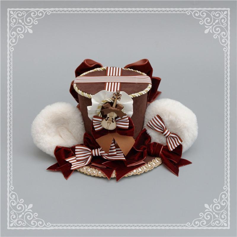 ロリータ 帽子 くま耳 レディース へアドレス コスプレ ゴシック モコモコ 豪華 レトロ かわいい 3色 クマ ハット ヘッドドレス|alicedoll|07