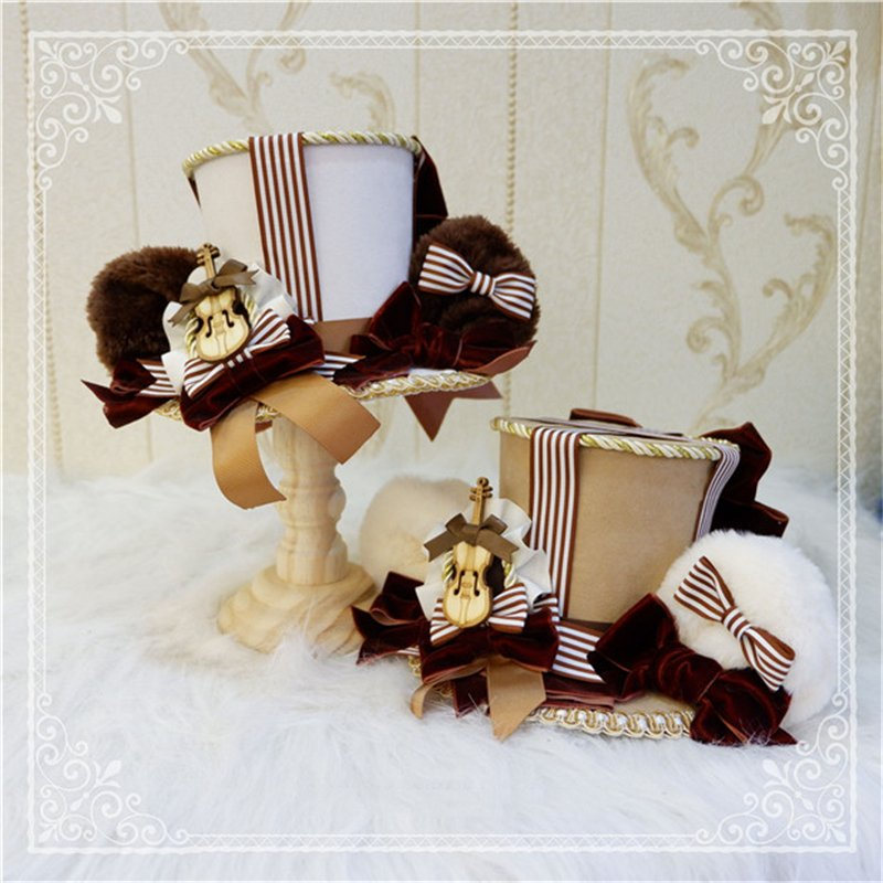 ロリータ 帽子 くま耳 レディース へアドレス コスプレ ゴシック モコモコ 豪華 レトロ かわいい 3色 クマ ハット ヘッドドレス|alicedoll|09