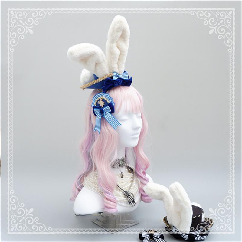ロリータ 帽子 カチューシャ ヘアドレス ヘアバンド Lolita 兎耳 うさ耳 もこもこ ハンドメイド レディース ゆめかわいい|alicedoll