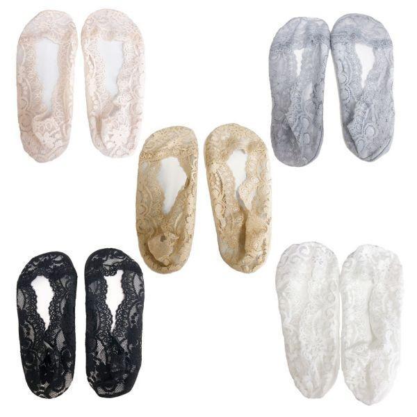 フットカバー 5色 セット レディース ソックス 靴下 足袋 パンプス レース 刺繍 足 脚 カバー 送料無料 alife 02