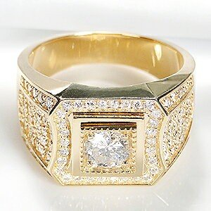 【全品送料無料】 ダイヤモンド K18 リング メンズ K18 18金 YG 指輪 YG ダイヤ デザインリング 豪華 ゴールド 1カラット 大粒 デザインリング AL-0202, e-プライス:7555299b --- airmodconsu.dominiotemporario.com