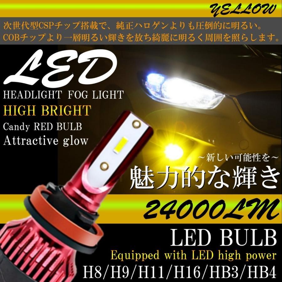 高輝度 LEDヘッドライト LEDフォグランプ H8/H9/H11/H16 HB3 HB4 24000lm 3000K イエロー 2本 車検対応 ポン付け LEDバルブ all-select