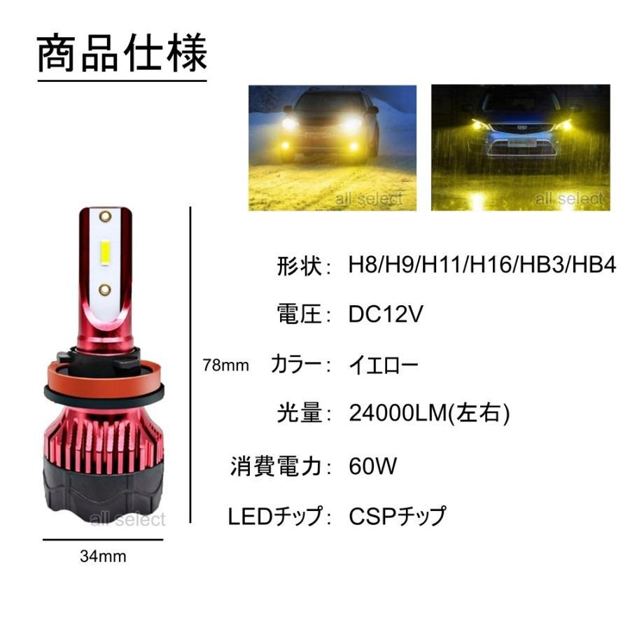 高輝度 LEDヘッドライト LEDフォグランプ H8/H9/H11/H16 HB3 HB4 24000lm 3000K イエロー 2本 車検対応 ポン付け LEDバルブ all-select 02